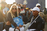 Phil Mickelson of the United States and wife Amy Mickelson sit on a buggy during the afternoon foursome matches of the 2018 Ryder Cup at Le Golf National on September 28, 2018 in Paris, France.