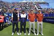 Dustin Johnson of the United States and Brooks Koepka of the United States face Henrik Stenson of Europe and Sergio Garcia of Europe during the afternoon foursome matches of the 2018 Ryder Cup at Le Golf National on September 29, 2018 in Paris, France.