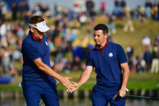 Rory McIlroy of Europe and Bubba Watson of the United States during the afternoon foursome matches of the 2018 Ryder Cup at Le Golf National on September 28, 2018 in Paris, France.
