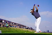 Bubba Watson of the United States tees off during the afternoon foursome matches of the 2018 Ryder Cup at Le Golf National on September 28, 2018 in Paris, France.