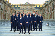 The players of Team Europe pose together on the steps of the Palace of Versailles prior to the Ryder Cup Gala ahead of the 2018 Ryder Cup on September 26, 2018 in Versailles, France.