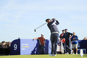 Rickie Fowler of the United States plays his shot from the ninth tee during the morning fourball matches of the 2018 Ryder Cup at Le Golf National on September 29, 2018 in Paris, France.