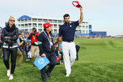 Bubba Watson of the United States waves to the crowd during singles matches of the 2018 Ryder Cup at Le Golf National on September 30, 2018 in Paris, France.