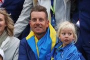 Henrik Stenson of Europe celebrates after winning The Ryder Cup with his family during singles matches of the 2018 Ryder Cup at Le Golf National on September 30, 2018 in Paris, France.
