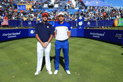 Bubba Watson of the United States and Henrik Stenson of Europe stand on the first tee during singles matches of the 2018 Ryder Cup at Le Golf National on September 30, 2018 in Paris, France.