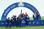 Henrik Stenson of Europe holds The Ryder Cup as Europe celebrate victory following the singles matches of the 2018 Ryder Cup at Le Golf National on September 30, 2018 in Paris, France.
