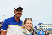 Henrik Stenson of Europe celebrates with wife Emma Stenson and childeren after winning the Ryder Cup during singles matches of the 2018 Ryder Cup at Le Golf National on September 30, 2018 in Paris, France.