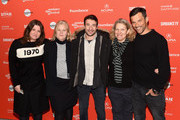"(L-R) Katherine Butler, Mary Jane Skalski, Bary Layton, Derrin Schlesinger, Dimitri Doganis attend the ""American Animals"" Premiere during the 2018 Sundance Film Festival at Eccles Center Theatre on January 19, 2018 in Park City, Utah."