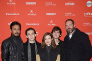 """(L-R) Actors Irrfan Khan, Austin Abrams, Kelly Macdonald, Bubba Weiler, and David Denman attend the """"Puzzle"""" Premiere at Eccles Center Theatre during the 2018 Sundance Film Festival on January 23, 2018 in Park City, Utah."""