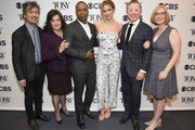 (L-R) David Henry Hwang, Charlotte St. Martin, Leslie Odom, Jr., Katharine McPhee, Thomas Schumacher and Heather Hitchens attend the 2018 Tony Awards Nominations Announcement at The New York Public Library for the Performing Arts on May 1, 2018 in New York City.