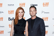 "Sarah Rafferty (L) and Patrick J. Adams attend the ""Clara"" premiere during 2018 Toronto International Film Festival at Ryerson Theatre on September 10, 2018 in Toronto, Canada."