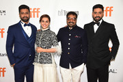 "(L-R) Vicky Kaushal, Tapsee Pannu, Anurag Kashyap and Abhishek Bachchan attend the ""Husband Material"" premiere during 2018 Toronto International Film Festival at Roy Thomson Hall on September 11, 2018 in Toronto, Canada."