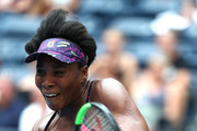 Venus Williams of the United States returns a shot during her women's singles first round match against Svetlana Kuznetsova of Russia on Day One of the 2018 US Open at the USTA Billie Jean King National Tennis Center on August 27, 2017 in the Flushing neighborhood of the Queens borough of New York City.