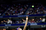 Venus Williams of the United States serves during her women's singles third round match against Serena Williams of the United States on Day Five of the 2018 US Open at the USTA Billie Jean King National Tennis Center on August 31, 2018 in the Flushing neighborhood of the Queens borough of New York City.