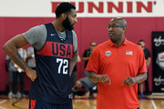 Andre Drummond #72 and assistant coach Mike Brown of the United States talk during a practice session at the 2018 USA Basketball Men's National Team minicamp at the Mendenhall Center at UNLV on July 26, 2018 in Las Vegas, Nevada.