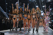 (L-R) Ming Xi, Grace Elizabeth, Cindy Bruna, Sara Sampaio, Stella Maxwell, and Romee Strijd walk the runway during the 2018 Victoria's Secret Fashion Show at Pier 94 on November 08, 2018 in New York City.