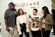 (L-R) Actors Omar Benson Miller, Kat Graham, Eric Bauza of 'Teenage Mutant Ninja Turtles', and WIRED editor Lauren Goode attend the 2018 WIRED Cafe at Comic Con presented by AT&T Audience Network at Omni Hotel on July 20, 2018 in San Diego, California.
