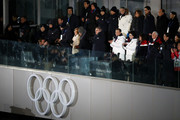 U.S. Vice President Mike Pence, Kim Yo-jong and President of South Korea, Moon Jae-in, IOC President Thomas Bach attend during the Opening Ceremony of the PyeongChang 2018 Winter Olympic Games at PyeongChang Olympic Stadium on February 9, 2018 in Pyeongchang-gun, South Korea.