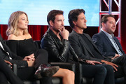 (L-R) Actors Kim Matula and Dylan McDermott, director/executive producer Steve Levitan and writer/executive producer Lon Zimmet of the television show LA To Vegas speak onstage during the FOX portion of the 2018 Winter Television Critics Association Press Tour at The Langham Huntington, Pasadena on January 4, 2018 in Pasadena, California.