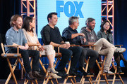 (L-R) Co-executve Producer Travis Bowe, actors Rachael MacFarlane, Seth Green and Mila Kunis, creator/executive producer Seth MacFarlane, executve producer/showrunner Rich Appel, executive producer/showrunner Alec Sulkin and co-executive producer Cherry Chevapravat-Dumrong of the television show Family Guy speak onstage during the FOX portion of the 2018 Winter Television Critics Association Press Tour at The Langham Huntington, Pasadena on January 4, 2018 in Pasadena, California.
