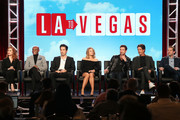 (L-R) Actors Olivia Macklin, Nathan Lee Graham, Ed Weeks, Kim Matula, Dylan McDermott, director/executive producer Steve Levitan and writer/executive producer Lon Zimmet of the television show LA To Vegas speak onstage during the FOX portion of the 2018 Winter Television Critics Association Press Tour at The Langham Huntington, Pasadena on January 4, 2018 in Pasadena, California.