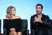 Actors Kim Matula (L) and Dylan McDermott of the television show LA To Vegas speak onstage during the FOX portion of the 2018 Winter Television Critics Association Press Tour at The Langham Huntington, Pasadena on January 4, 2018 in Pasadena, California.