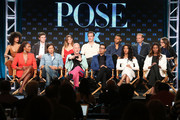 (L-R, Back Row) Actors Indya Moore, Evan Peters, Kate Mara, James Van der Beek, Ryan Jamaal Swain, executive producer Brad Simpson and executive producer Nina Jacobson, (l-r, front row) producer/writer Janet Mock, co-creator/executive producer/writer Brad Falchuk, co-creator/showrunner/executive producer/writer/director Ryan Murphy, co-creator/executive producer/writer Steven Canals and actors MJ Rodriguez and Dominique Jackson of the television show POSE speak onstage during the FOX/FX Networks portion of the 2018 Winter Television Critics Association Press Tour at The Langham Huntington, Pasadena on January 5, 2018 in Pasadena, California.