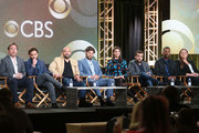 (L-R) Executive producer Patrick Walsh, executive producer Johnny Galecki, actors Ian Gomez, Lindsey Kraft, Jay R. Ferguson, David Krumholtz, Tony Rock and Camryn Manheim of the television show Living Biblically listen to a question onstage during the CBS/Showtime portion of the 2018 Winter Television Critics Association Press Tour at The Langham Huntington, Pasadena on January 6, 2018 in Pasadena, California.