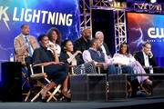 "(L-R, back row) Damon Gupton, Mara Brock Akil, Salim Akil, Marvin Jones III, (L-R, front row) Christine Adams, China Anne McClain, Cress Williams, Nafessa Williams and James Remar of the television show ""Black Lightning"" speaks on stage during the CW portion of the 2018 Winter Television Critics Association Press Tour at The Langham Huntington, Pasadena on January 7, 2018 in Pasadena, California."