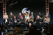 (L-R, Back Row) Actors Danielle Savre, Jay Hayden, Miguel Sandoval, Barrett Doss, Grey Damon, Okieriete Onaodowan, Alberto Frezza, (l-r, front row) executive producers Betsy Beers and Shonda Rhimes, actors Jason George and Jaine Lee Ortiz and executive producers Stacy McKee and Paris Barclay speak onstage during the ABC Television/Disney portion of the 2018 Winter Television Critics Association Press Tour at The Langham Huntington, Pasadena on January 8, 2018 in Pasadena, California.