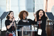 (L-R) Rowan Blanchard, Alfre Woodard and Jurnee Smollett-Bell speak onstage at 2018 Women's March Los Angeles at Pershing Square on January 20, 2018 in Los Angeles, California.