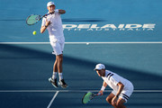 Bob Bryan and Mike Bryan of the USA compete in their match against Jamie Murray of Great Britain and Bruno Soares of Brazil on day two of the 2018 World Tennis Challenge at Memorial Drive on January 9, 2018 in Adelaide, Australia.