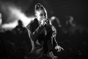 Image has been converted to black and white.) Kehlani performs onstage during the 2018 iHeartRadio Music Awards which broadcasted live on TBS, TNT, and truTV at The Forum on March 11, 2018 in Inglewood, California.