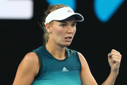 Caroline Wozniacki of Denmark celebrates a point in her first round match against Alison Van Uytvanck of Belgium during day one of the 2019 Australian Open at Melbourne Park on January 14, 2019 in Melbourne, Australia.