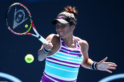Heather Watson of Great Britain plays a forehand in her first round match against Petra Martic of Croatia during day one of the 2019 Australian Open at Melbourne Park on January 14, 2019 in Melbourne, Australia.