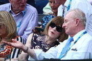 Anna Wintour and Rod Laver watch the men's semi final match between Novak Djokovic of Serbia and Lucas Pouille of France during day 12 of the 2019 Australian Open at Melbourne Park on January 25, 2019 in Melbourne, Australia.