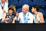 Anna Wintour and Rod Laver attend the men's singles semi final match between Novak Djokovic of Serbia and Lucas Pouille of France during day 12 of the 2019 Australian Open at Melbourne Park on January 25, 2019 in Melbourne, Australia.