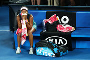 Naomi Osaka of Japan following victory in her Women's Singles Final match against Petra Kvitova of the Czech Republic during day 13 of the 2019 Australian Open at Melbourne Park on January 26, 2019 in Melbourne, Australia.