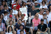 Fans watch the Women's Singles Final match between Petra Kvitova of the Czech Republic and Naomi Osaka of Japan during day 13 of the 2019 Australian Open at Melbourne Park on January 26, 2019 in Melbourne, Australia.