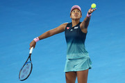 Naomi Osaka of Japan serves in her Women's Singles Final match against Petra Kvitova of the Czech Republic on day 13 of the 2019 Australian Open at Melbourne Park on January 26, 2019 in Melbourne, Australia.