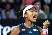 Naomi Osaka of Japan celebrates in her Women's Singles Final match against Petra Kvitova of the Czech Republic on day 13 of the 2019 Australian Open at Melbourne Park on January 26, 2019 in Melbourne, Australia.
