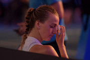Petra Kvitova of Czech Republic shows emotion following her loss to Naomi Osaka of Japan in the Women's Singles Final match during day 13 of the 2019 Australian Open at Melbourne Park on January 26, 2019 in Melbourne, Australia.