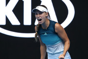 Caroline Wozniacki of Denmark celebrates winning match point in her second round match against Johanna Larsson of Sweden during day three of the 2019 Australian Open at Melbourne Park on January 16, 2019 in Melbourne, Australia.