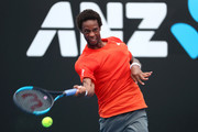 Gael Monfils of France plays a forehand in his second round match against Taylor Fritz of the United States during day three of the 2019 Australian Open at Melbourne Park on January 16, 2019 in Melbourne, Australia.