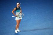 Caroline Wozniacki of Denmark reacts in her third round match against Maria Sharapova of Russia during day five of the 2019 Australian Open at Melbourne Park on January 18, 2019 in Melbourne, Australia.