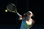 Caroline Wozniacki of Denmark plays a shot during a practice session ahead of the 2019 Australian Open at Melbourne Park on January 11, 2019 in Melbourne, Australia.