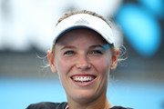 Caroline Wozniacki of Denmark looks on during a practice session ahead of the 2019 Australian Open at Melbourne Park on January 08, 2019 in Melbourne, Australia.