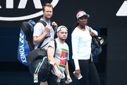Venus Williams of the United States and her trainers look on during a practice session ahead of the 2019 Australian Open at Melbourne Park on January 08, 2019 in Melbourne, Australia.