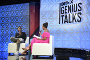 Lena Waithe and Jemele Hill speak onstage during Genius Talks Sponsored By Credit Karma during the BET Experience at the Los Angeles Convention Center on June 22, 2019 in Los Angeles, California.