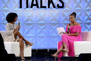 (L-R) Yara Shahidi and Jemele Hill speak onstage at Generation Genius: From Blackish to Grownish at Genius Talks Sponsored By Credit Karma during the BET Experience at the Los Angeles Convention Center on June 22, 2019 in Los Angeles, California.